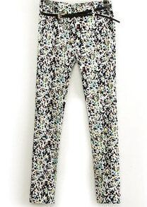 Multicolor Geometric Print Pencil Pant
