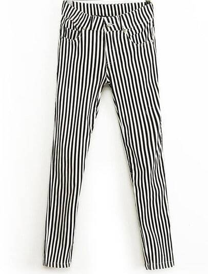 Black White Vertical Stripe Elastic Slim Pant