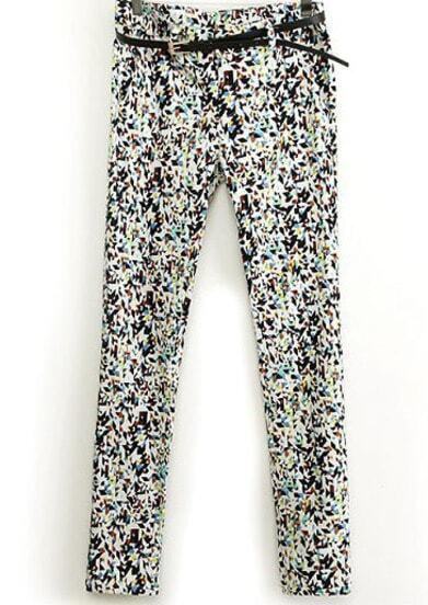Multicolor Geometric Print Pencil Pant