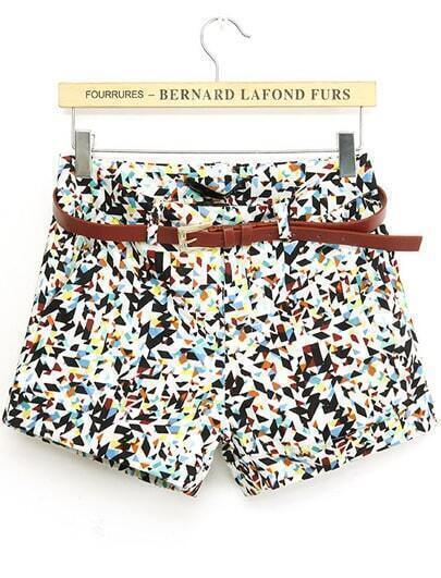Multicolor Geometric Print Straight Shorts