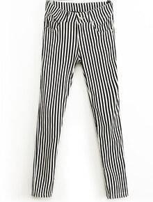 Black White Vertical Stripe Elastic Slim Pant