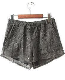 Grey Elastic Waist Lace Straight Shorts