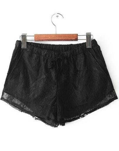 Black Elastic Waist Lace Straight Shorts