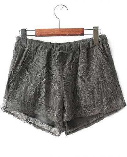 Grey Elastic Waist Lace Straight Shorts