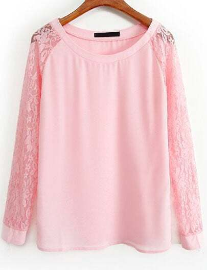 Pink Contrast Lace Long Sleeve Loose Blouse