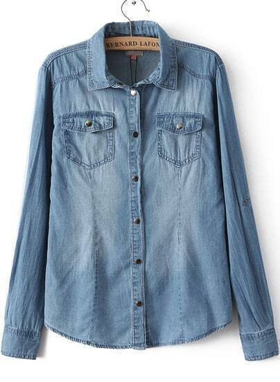 Blue Lapel Long Sleeve Bleached Denim Blouse