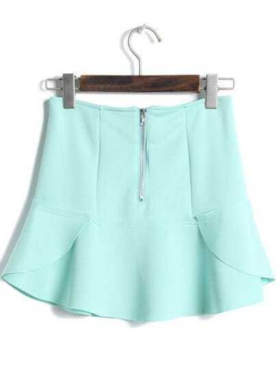 Green High Waist Zipper Ruffle Skirt