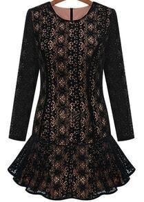 Black Long Sleeve Hollow Lace Ruffle Dress