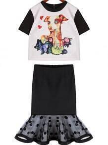 White Short Sleeve Dog Print Top With Polka Dot Gauze Skirt