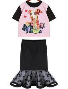 Pink Short Sleeve Dog Print Top With Polka Dot Gauze Skirt