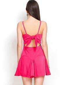 Rose Red Spaghetti Strap Bow Ruffle Dress