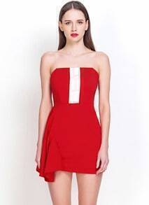 Red Strapless Asymmetrical Slim Bodycon Dress