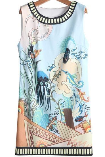 Blue Sleeveless Underwater World Print Dress