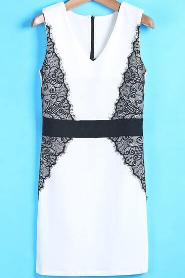 White V Neck Contrast Lace Bodycon Dress