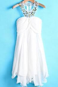 White Halter Strapless Rhinestone Chiffon Dress