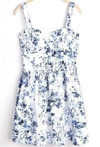 White Spaghetti Strap Blue Floral Pleated Dress