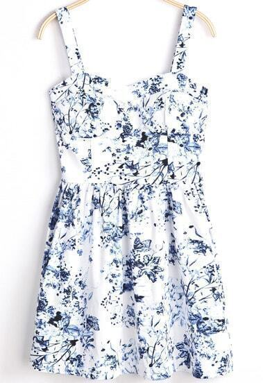 White Spaghetti Strap Blue Floral Pleated Dress