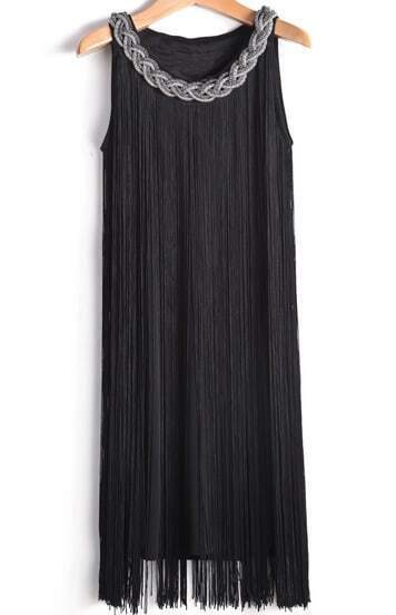 Black Sleeveless Metal Chain Tassel Dress