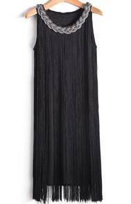 Black Sleeveless Metal Chain Tassel Dress
