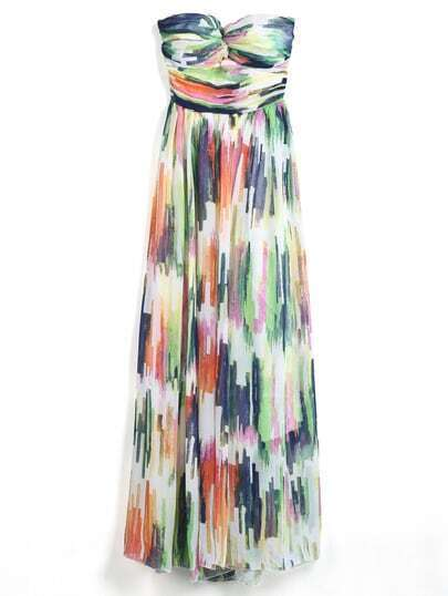 Multicolor Strapless Graffiti Print Chiffon Dress