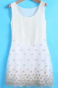 White Round Neck Sleeveless Embroidered Chiffon Dress