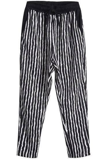 Black Drawstring Waist Vertical Stripe Pant