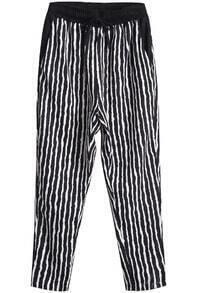 Black Drawstring Waist Vertical Stripe Pant