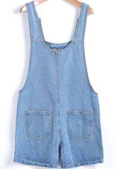 Jumpsuits Denim suelto bolsillos-azul