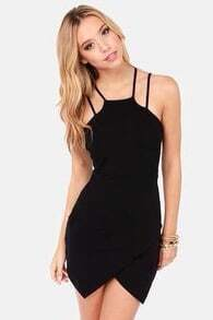 Black Spaghetti Strap Slim Bodycon Dress