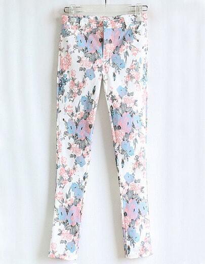 White Floral Pattern Pant