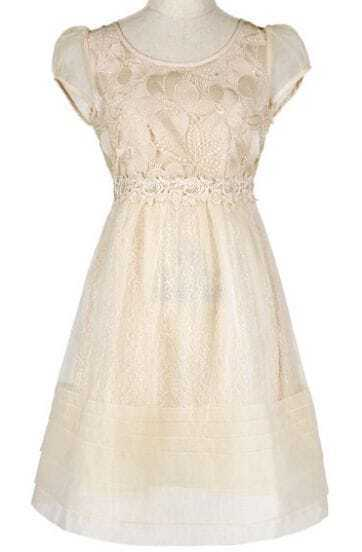 Beige Short Flower Embroidery Flare Dress
