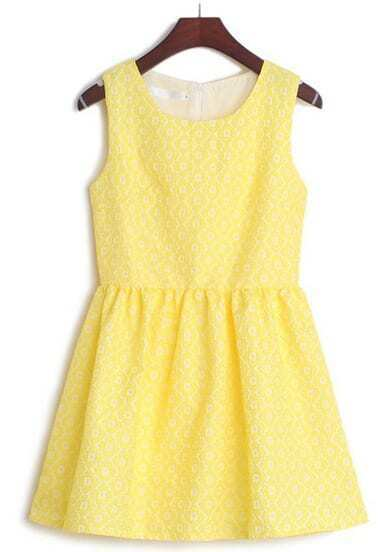 Yellow Sleeveless Floral Embroidery Flare Dress