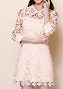 Pink Half Sleeve Pearl Lace Embroidery Dress