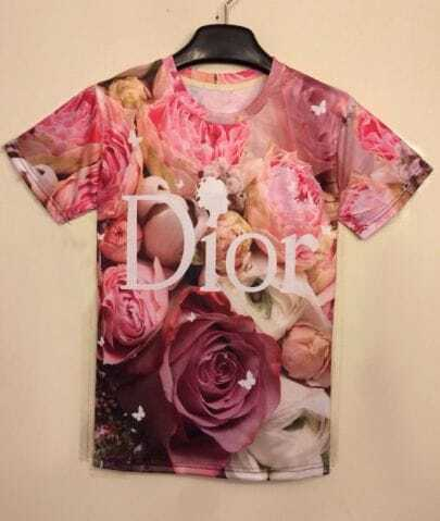 Red Short Sleeve Roses Print T-shirt