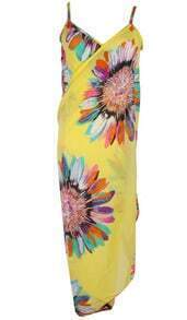 Yellow Spaghetti Strap Feather Print Dress
