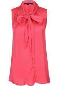 Red Sleeveless Bow Collar Chiffon Blouse