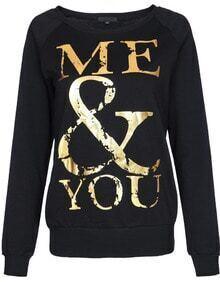 Black Long Sleeve Bronzing Letters Print Sweatshirt