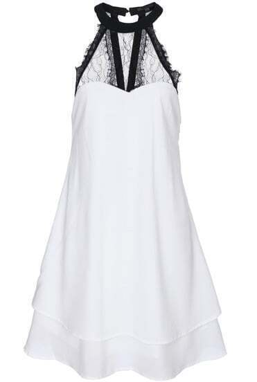 White Contrast Lace Backless Bow Chiffon Dress