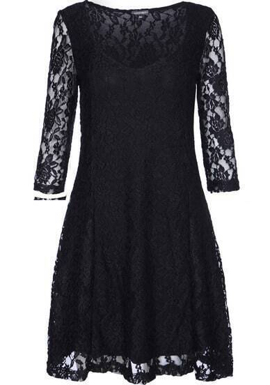 Black Scoop Neck Embroidered Lace Dress