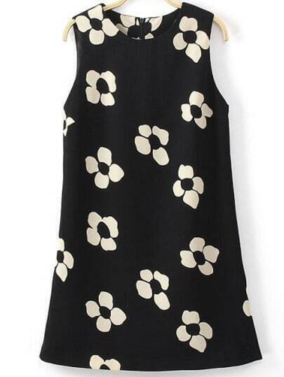 Black Sleeveless Floral Slim Straight Dress
