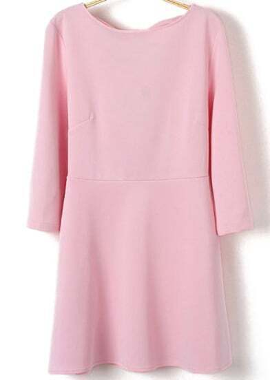Pink Round Neck Backless Bow Ruffle Dress