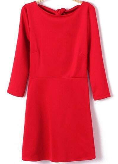 Red Round Neck Backless Bow Ruffle Dress