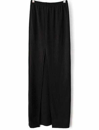 Black Elastic Split Long Skirt
