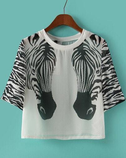 White Short Sleeve Zebra Print Crop Blouse