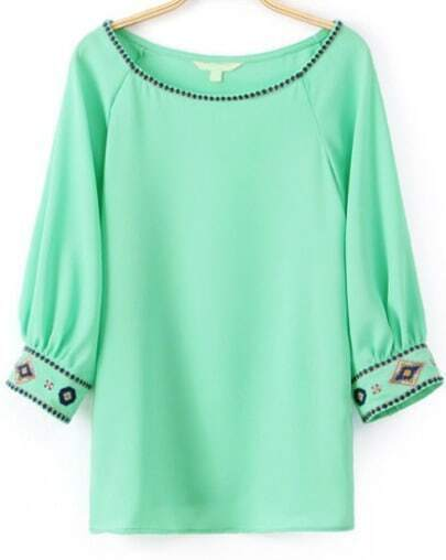 Green Half Sleeve Embroidered Loose Blouse
