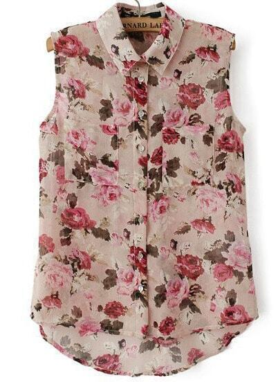 Pink Lapel Sleeveless Floral Dipped Hem Blouse