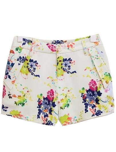 White Slim Floral Straight Shorts