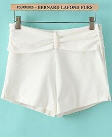 White Pleated Casual Straight Shorts