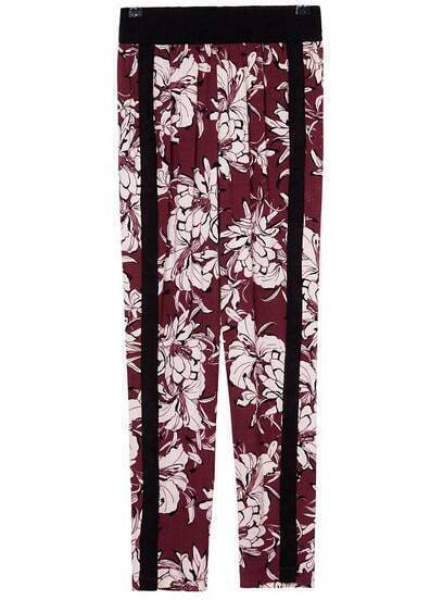 Wine Red Elastic Waist Floral Pant