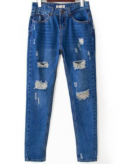 Blue Pockets Bleached Ripped Denim Pant